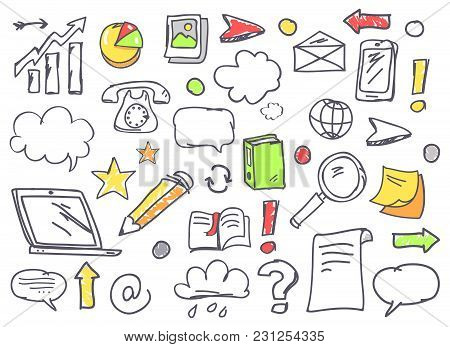 Drawn Office Theme Icons With Smartphone Telephone, Laptop And Pencil, Bar Graph, Book And Pie Chart