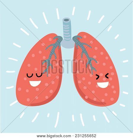 Vector Cartoon Illustration Of Lungs Primitive Style With Funny Smiling Faces Cartoon Character Chil