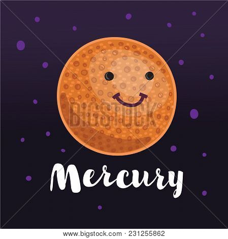 Vector Cartoon Illustration Planeelement Of Solar System. Hand Drawn Lettering Name. Dark Space Star