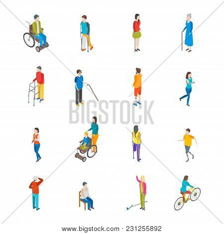 Isometric Disabled People Characters Icon Set Isolated On A White Background Blind Patient. Vector I