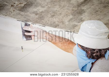 Manual Worker With Wall Plastering Tools Worker Putty Wall And Ceiling