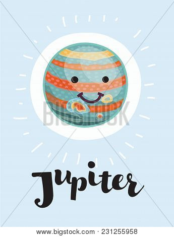 Vector Cartoon Jupiter With Vector Character With Smiling Funny Face On Isolated Background, Solar S