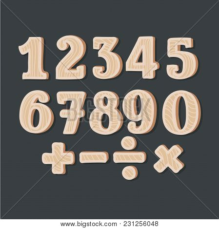 Vector Cartoon Illustration Of Wooden Numbers And Sights On Black Background. Division, Exclamation