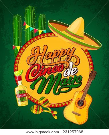 Happy Cinco De Mayo Festive Banner With Latin American Fiesta Party Symbols. Festival Sombrero, Mara