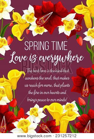 Springtime Flowers And Wish Greeting Card. Vector Love Is In The Air Quote Poster Of Floral Design W