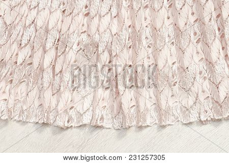 Biege Pleating Cloth With Embossed Pattern, Close-up. Texture