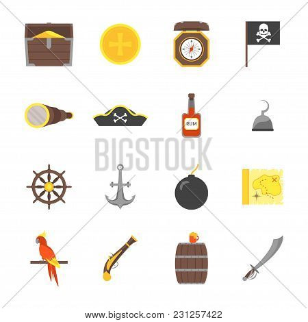 Cartoon Color Pirate Signs Icons Set Adventure Concept Flat Design Style Include Of Treasure, Map, S