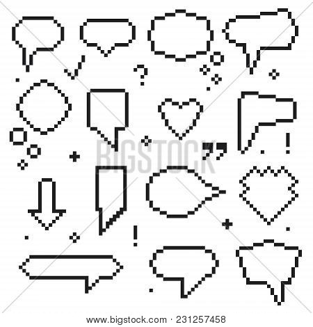 Pixel Art 8 Bit Speech Bubbles Black Icons Set Isolated On White Background Talk And Communication E
