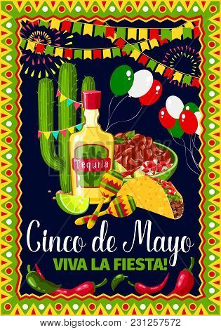 Cinco De Mayo Greeting Card For Mexican Holiday Fiesta Celebration. Vector Design Of Traditional Mex