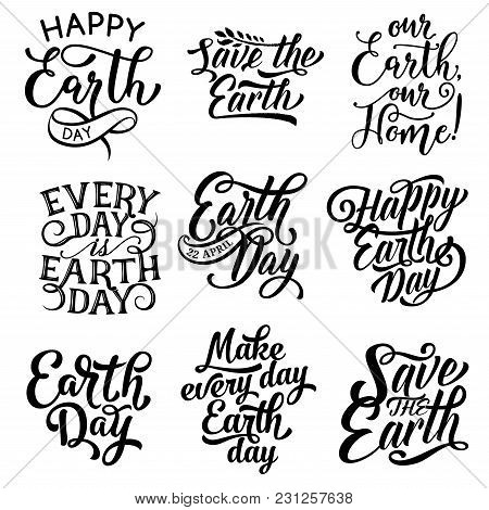 Earth Day Text Icons For Save Planet Holiday Of 22 April Greeting Card. Vector Isolated Set Of Calli