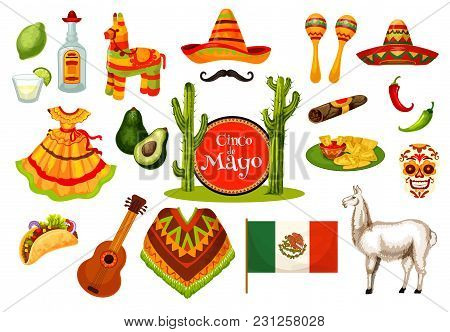 Cinco De Mayo Festival Icon Set Of Mexican Holiday Fiesta Party Symbol. Sombrero Hat, Maracas, Chili