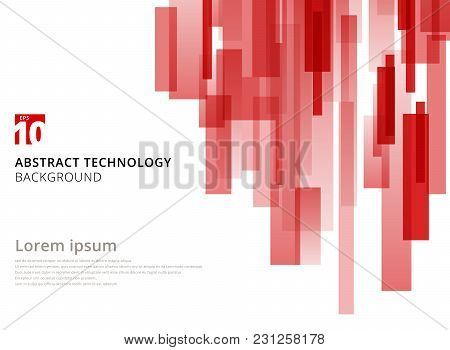 Abstract Technology Vertical Overlapped Geometric Squares Shape Red Colour On White Background With