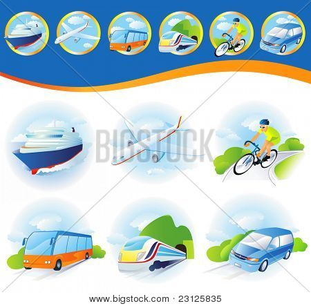 poster of Travel transportation icon set. Vector. Vehicles icons