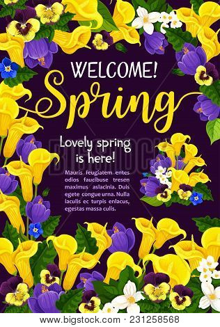 Spring Season Holiday Welcome Banner Design With Garden Flower Blossom Frame. Blooming Plant Floral