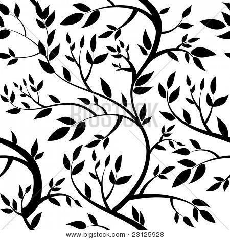 seamless wallpaper - black leaves