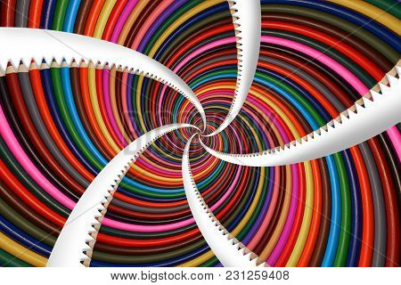 Isolated On White Colorful Rainbow Sharpen Pencils Spiral Background Pattern Fractal. Pencils Backgr