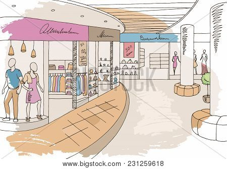 Shopping Mall Graphic Color Interior Sketch Illustration Vector