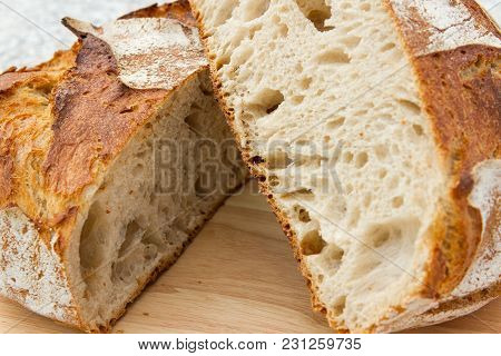 Fresh French Bread Tourte A Whole French Bread Tourte On A Bread Board