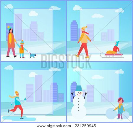 Winter Activities Collection, People On Posters, Family Walking Dog, Mother And Child On Sledge, Ski