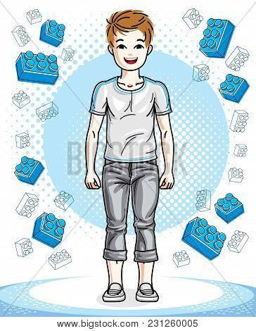 Young Teen Boy Cute Nice Standing Wearing Fashionable Casual Clothes. Vector Kid Illustration. Child