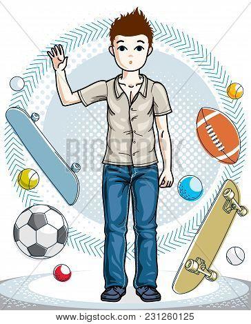 Teen Cute Little Boy Standing Wearing Fashionable Casual Clothes. Vector Beautiful Human Illustratio