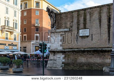 Vatican City, March 06, 2018: Wide Angle Picture Of Bricky Wall Showing The Direction Of Vatican Mus