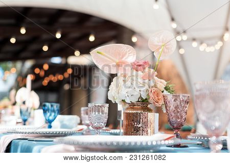 Flower Table Decorations For Holidays And Wedding Dinner. Table Set For Holiday, Event, Party Or Wed