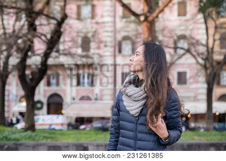 Horizontal Picture Of Long Hair Woman Looking The Horizon In Vatican City, Italy