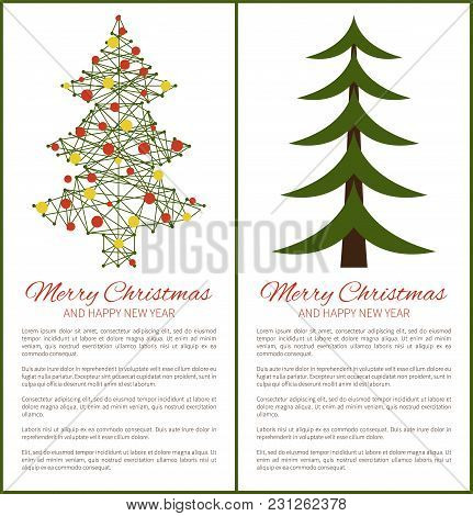 Merry Christmas And Happy New Year Posters Green Tree Carcass And Balls, Symbolic Pine Presented In