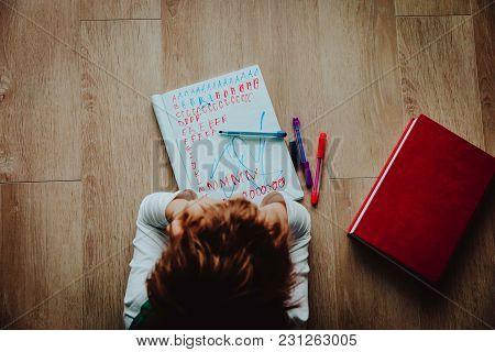 Little Boy Tired Bored Stressed Of Doing Homework
