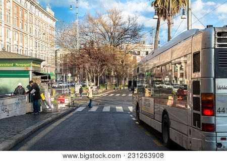 Vatican City, March 06, 2018: Horizontal Picture Of The Bus In The Streets Of Vatican City, Italy