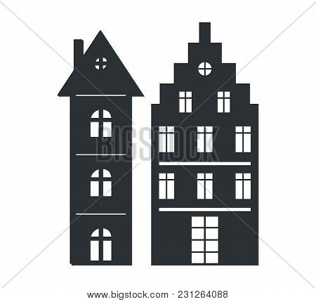 Set Of Multi Storey Houses Black Silhouettes Isolated On White Background. Graphic Design Of Modern