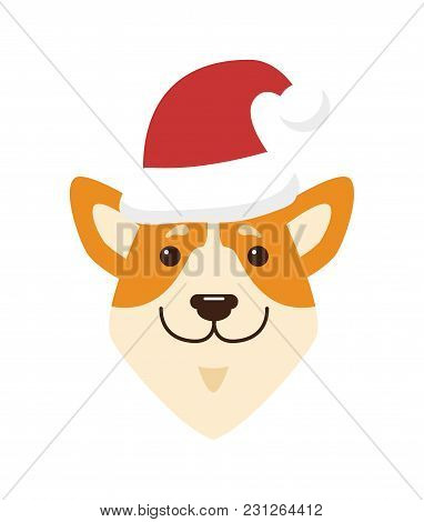 Dogs Icon Wearing Red Hat, Traditional Part Of Santa Claus Costume, Domestic Pet Symbolizing New Yea