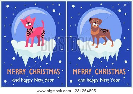 Merry Christmas And Happy New Year Doggy Congrats Set Of Posters With 2018 Year Symbol Due Chinese C