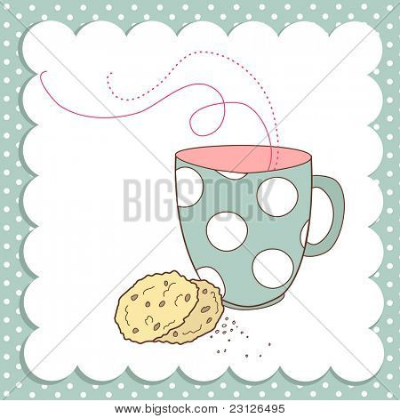 Agradable taza de té y una galletas