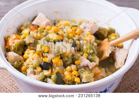 Pan With Frozen Vegetable Mix For Frying. Studio Photo