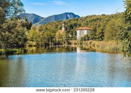Lake Of Brinzio In Valey Rasa, Province Of Varese, Italy.