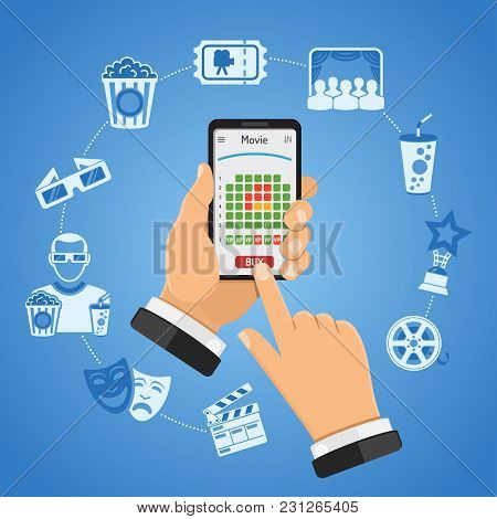 Concepts Online Cinema Ticket Order Man Holding Smartphone Vertically In Hand And Buys Ticket In Mov