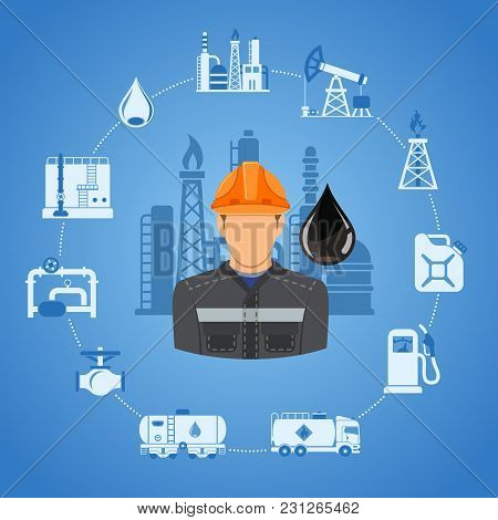 Oil Industry Concept With Two Color Flat Icons Extraction Production And Transportation Oil And Petr