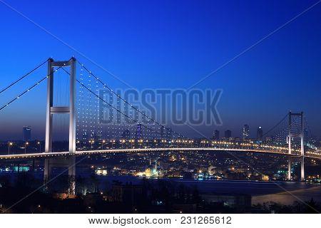 The Bosphorus Bridge At Night Istanbul Tıırkey