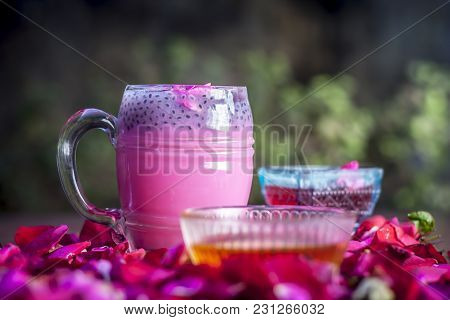 Indian/asian Popular Summer Drink I.e. Gulab Shake Or Rose Shake Consisting Of Milk,rose Syrup,sugar