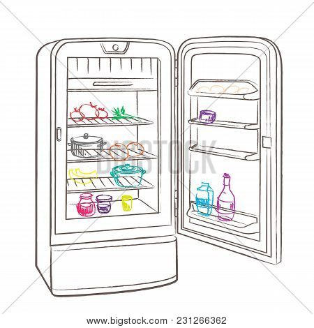 Separate Image Retro Refrigerator With Products Made In The Thumbnail Style On A White Background