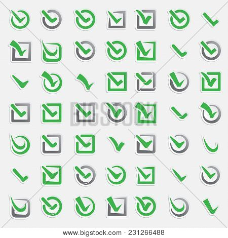 Checkbox Vote Marks Vector Icons Set. Check Vote Sign Choice Yes Symbol. Correct Design Right Agreem
