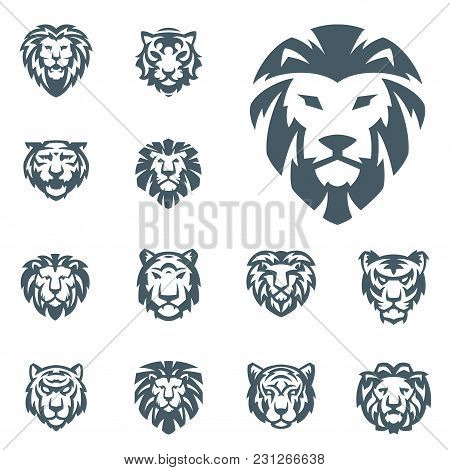Tiger And Lions Vector Head Face Silhouette Badge Strength Predator Power Wildcat Illustration Power