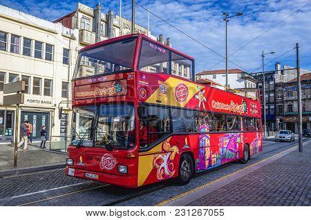 Porto, Portugal - December 8, 2016: Double Decker Tourist Bus On A Street In Porto