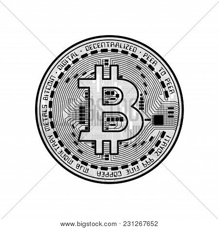 Gray Business Background With Candlesticks And Black Bitcoin Symbol