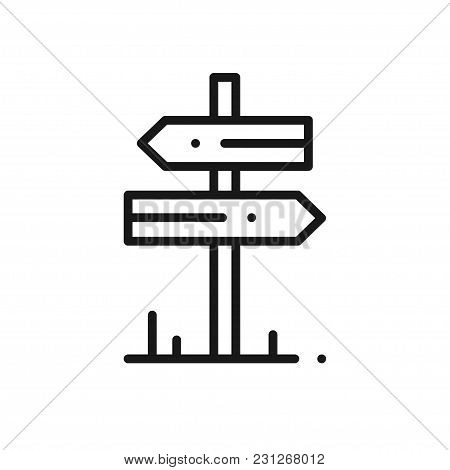 Signpost Line Icon. Road Sign And Symbol. Direction Roadsign