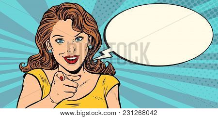 Gesture Woman Pointing Finger At You. Pop Art Retro Comic Book Cartoon Drawing Vector Illustration K