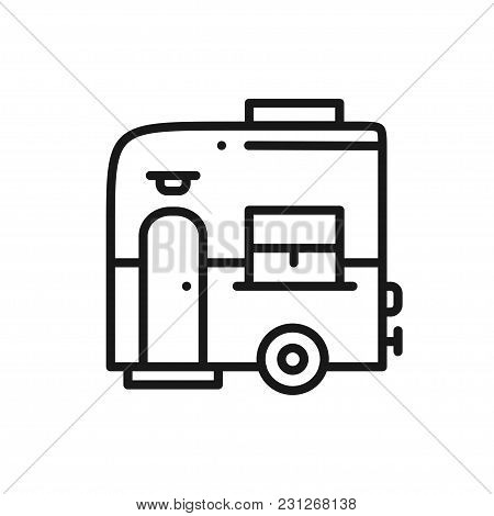 Mobile Trailer Line Icon. Camping Caravan Trailer Home