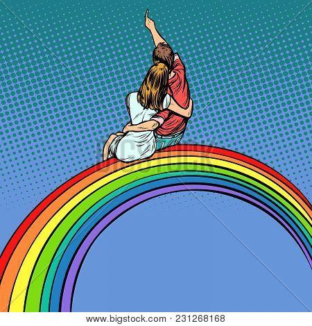 Loving Couple Man And Woman Sitting On A Rainbow, Romantic Date. Pop Art Retro Vector Illustration C
